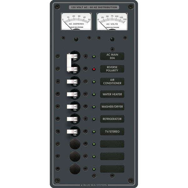 Blue Sea 8074 AC Main +8 Positions Toggle Circuit Breaker Panel  (White Switches) [8074]