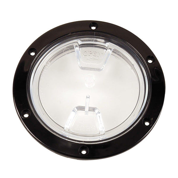 "Beckson 4"" Clear Center Screw Out Deck Plate - Black [DP40-B-C]"