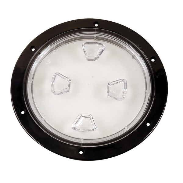 "Beckson 8"" Clear Center Screw-Out Deck Plate - Black [DP80-B-C]"