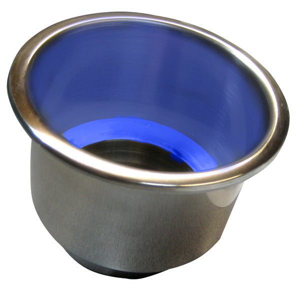 Whitecap Flush Mount Cup Holder w-Blue LED Light - Stainless Steel [S-3511BC]