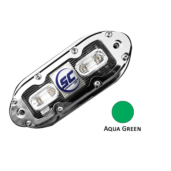 Shadow-Caster SCM-4 LED Underwater Light w-20' Cable - 316 SS Housing - Aqua Green [SCM-4-AG-20]