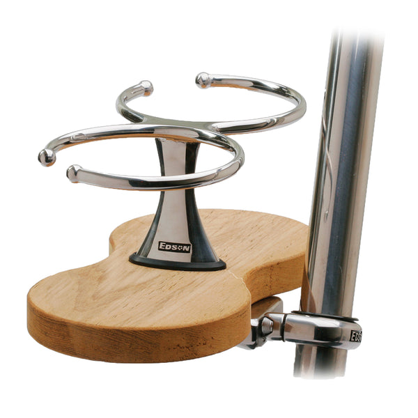 Edson Clamp-On Drink Holder - Double - Teak [878TK-2-125]