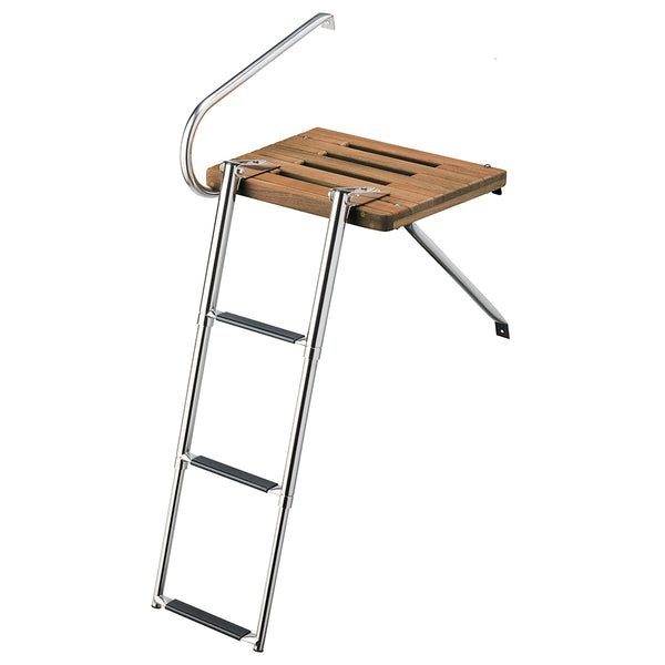 Whitecap Teak Swim Platform w-3-Step Telescoping Ladder f-Boats w-Outboard Motors [68902]
