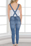 Distressed Denim Overalls - Denim