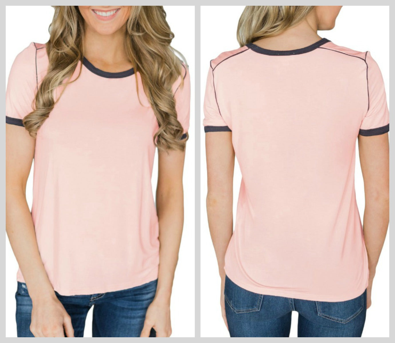 Casual Cute Suburbancloth Mom N Bab Short Tee Pink Lace Hem The Classic Ringer Top
