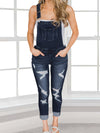 Distressed Denim Overalls - Dark Denim