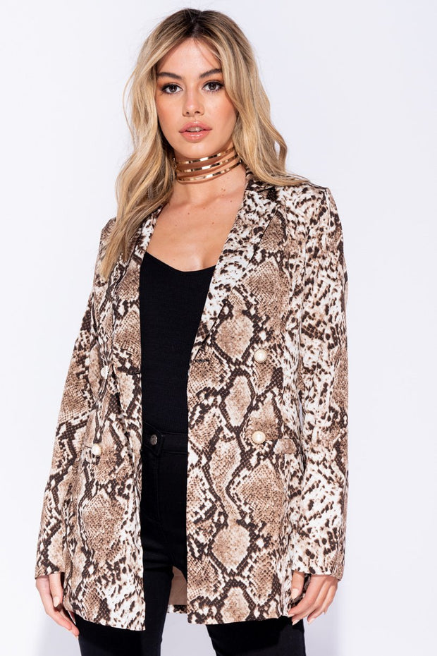 Image: Black White Snake Print Double Breasted Blazer