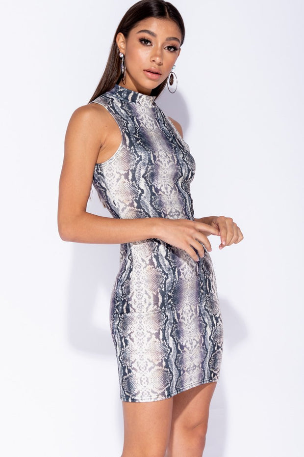 Image: Snake Print High Neck Sleeveless Bodycon Mini Dress