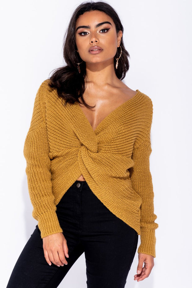 Image: Mustard Knot Front Detail Jumper