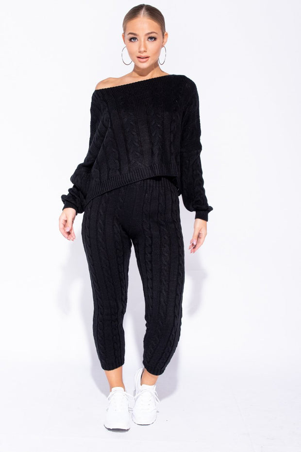 Image: Black Cable Knit Cropped Top Lounge Set