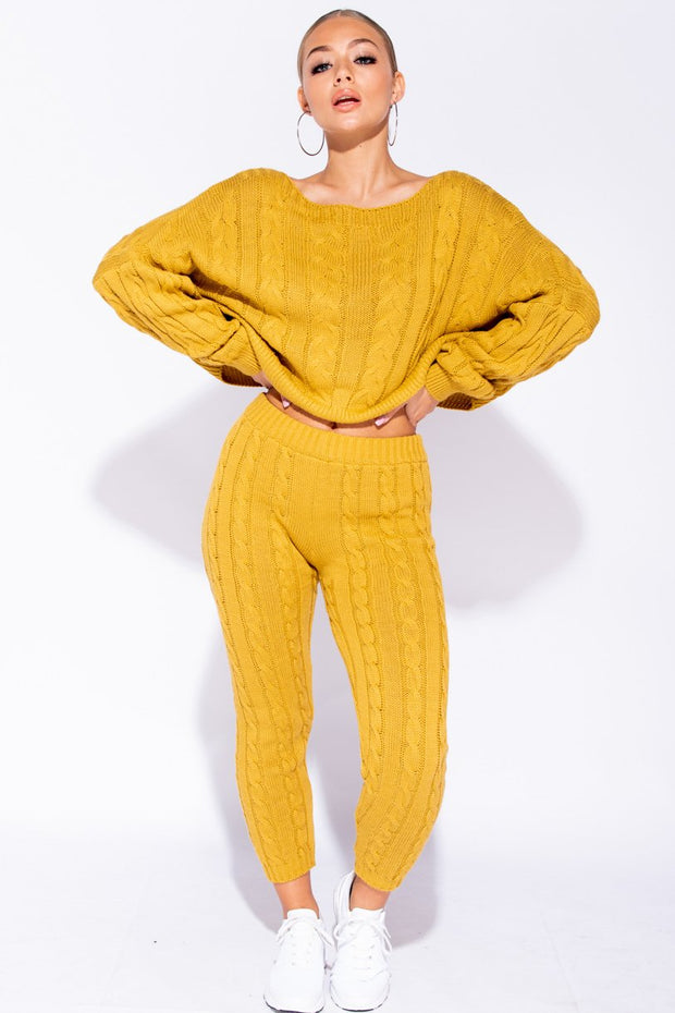 Image: Mustard Cable Knit Cropped Top Lounge Set