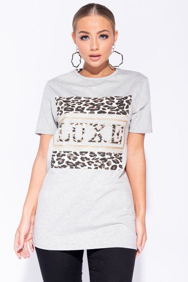 Image: Grey Leopard Luxe Print Short Sleeve T-Shirt