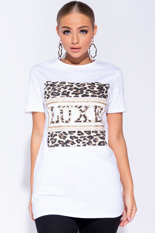 Image: White Leopard Luxe Print Short Sleeve T-Shirt