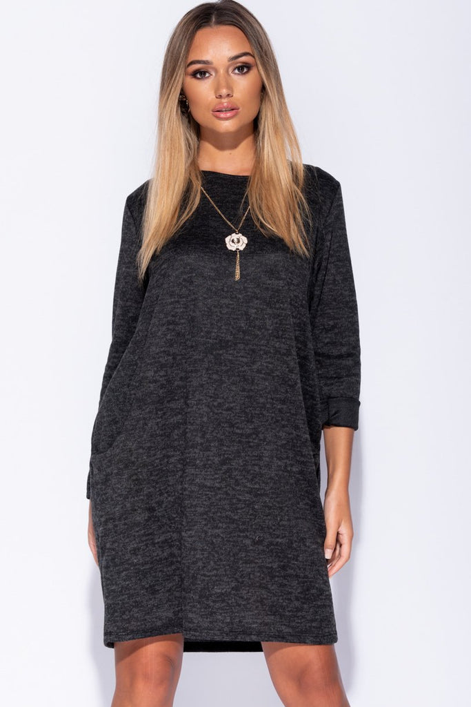 Image: Black Necklace Trim Jersey Dress - Parisian-uk