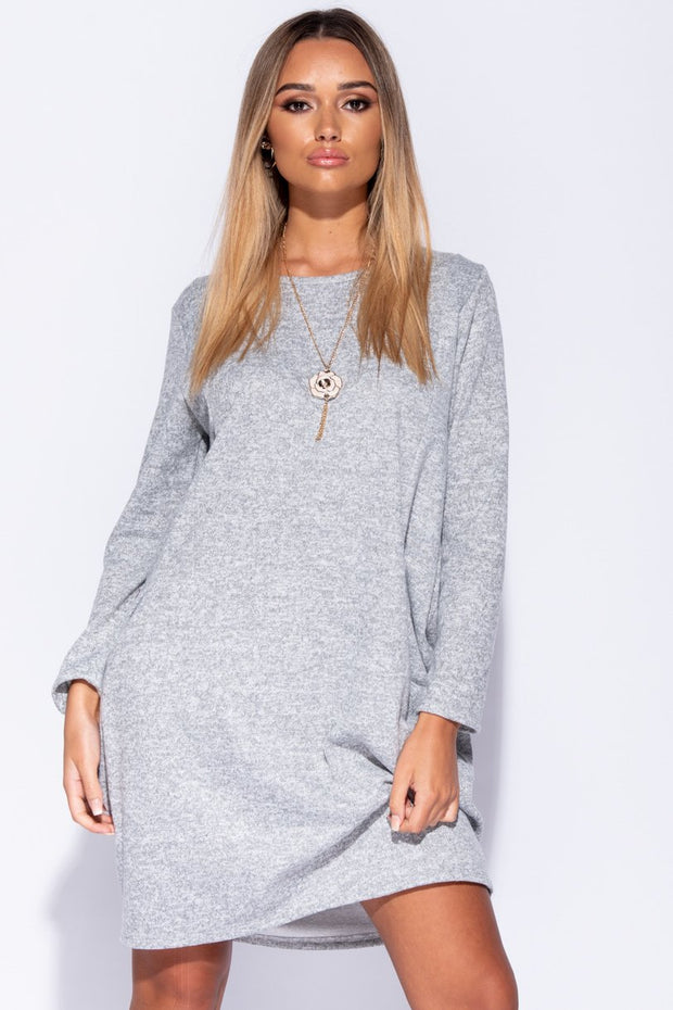 Image: Grey Necklace Trim Jersey Dress