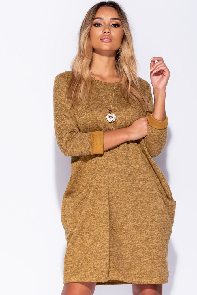 Mustard Necklace Trim Jersey Dress