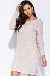 Beige Rib Knit Twist Back Jumper Dress - Parisian-uk