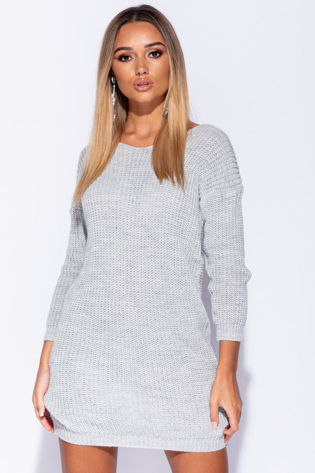 Image: Grey Rib Knit Twist Back Jumper Dress