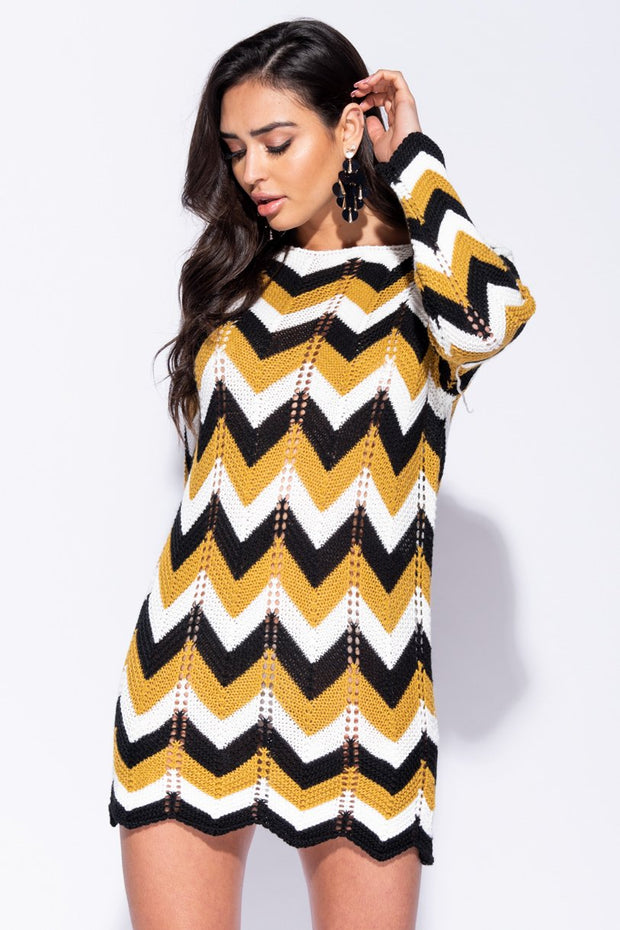Image: Mustard Zig Zag Pointelle Detail Jumper Dress