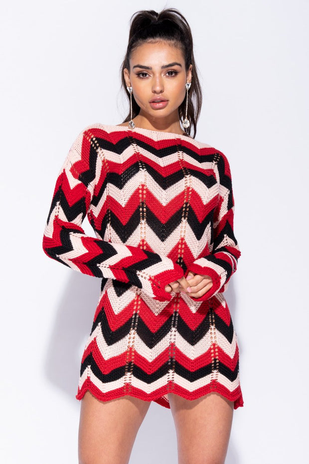 Image: Wine Zig Zag Pointelle Detail Jumper Dress