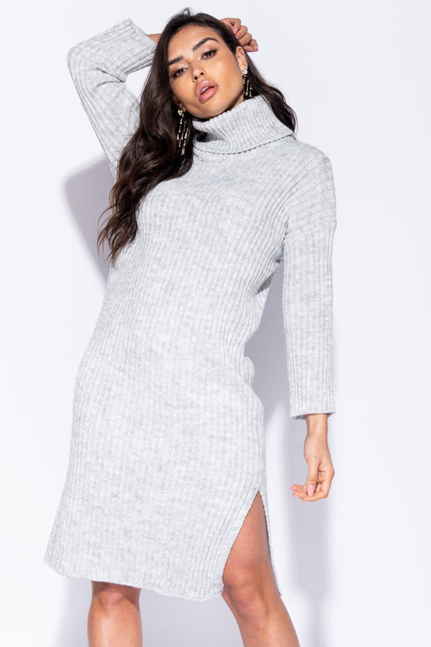 Image: Grey Rib Knit Turtleneck Jumper Dress