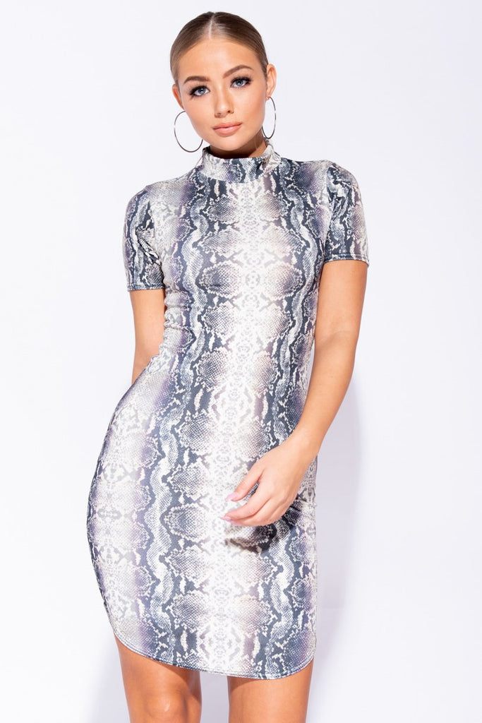 Grey Snake Print High Neck Short Sleeve Curved Hem Bodycon Mini Dress - Parisian-uk