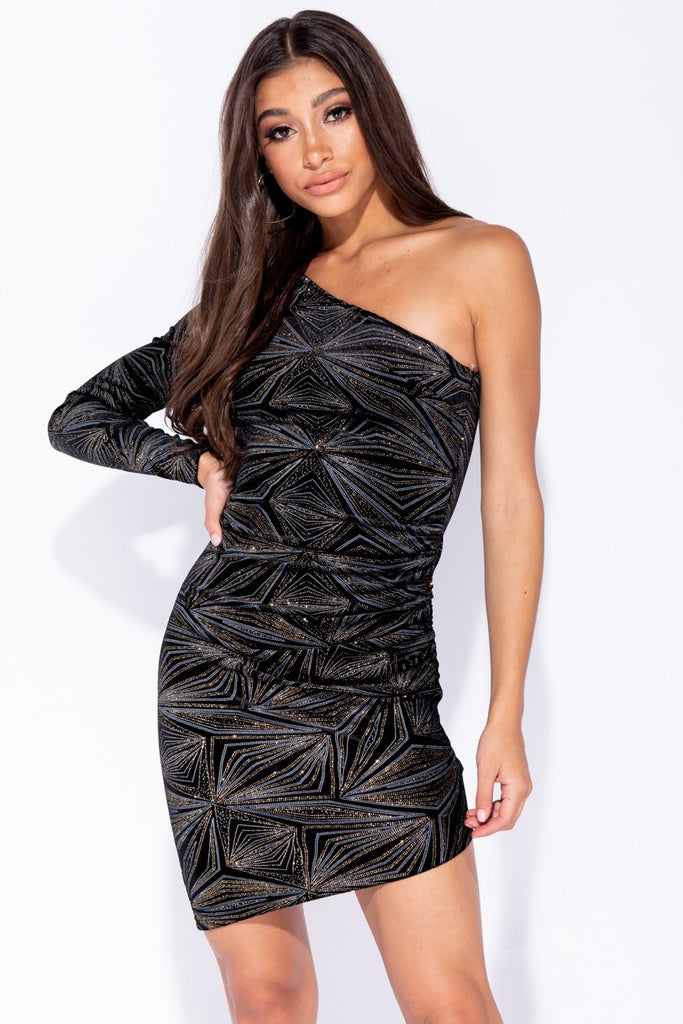 Image: Black Glitter Print One Shoulder Asymmetric Bodycon Mini Dress - Parisian-uk
