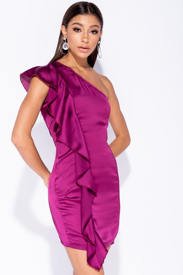 Image: Magenta Frill Detail One Shoulder Sleeveless Bodycon Mini Dress