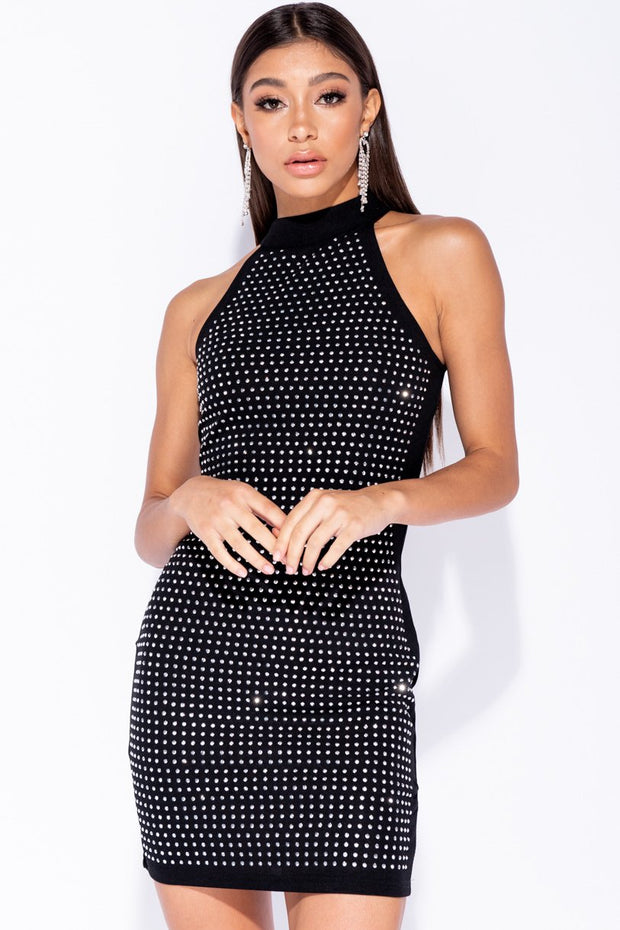 Image: Black Diamante Stud Detail High Neck Sleeveless Bodycon Mini Dress