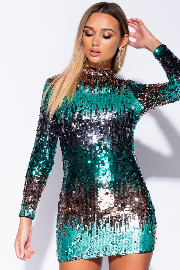 Image: Black Green Multi Colour Sequin High Neck Bodycon Dress