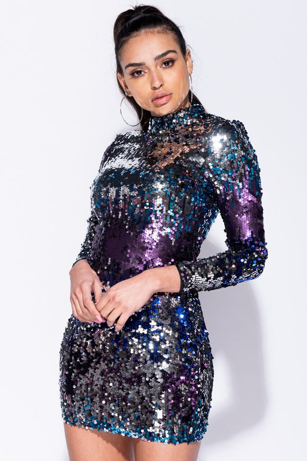 Image: Black Purple Multi Colour Sequin High Neck Bodycon Dress