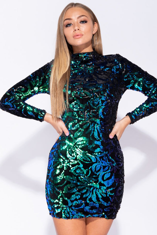 Image: Black Green Floral Sequin High Neck Long Sleeve Bodycon Mini Dress