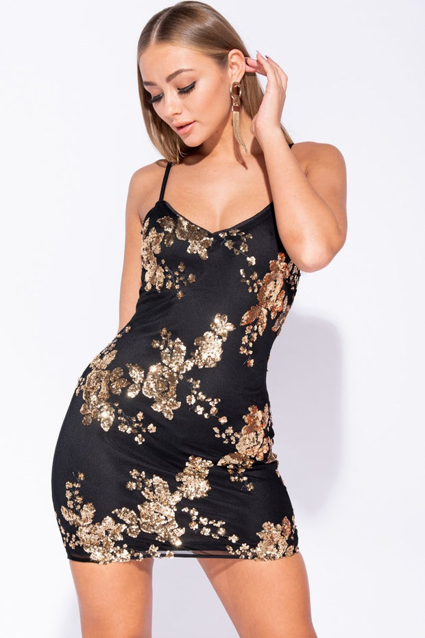 Image: Black Gold Floral Sequin Cami Style Bodycon Mini Dress