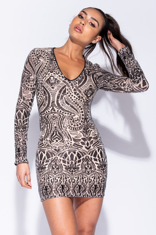 Image: Nude Black Abstract Sequin Front V Neck Bodycon Dress