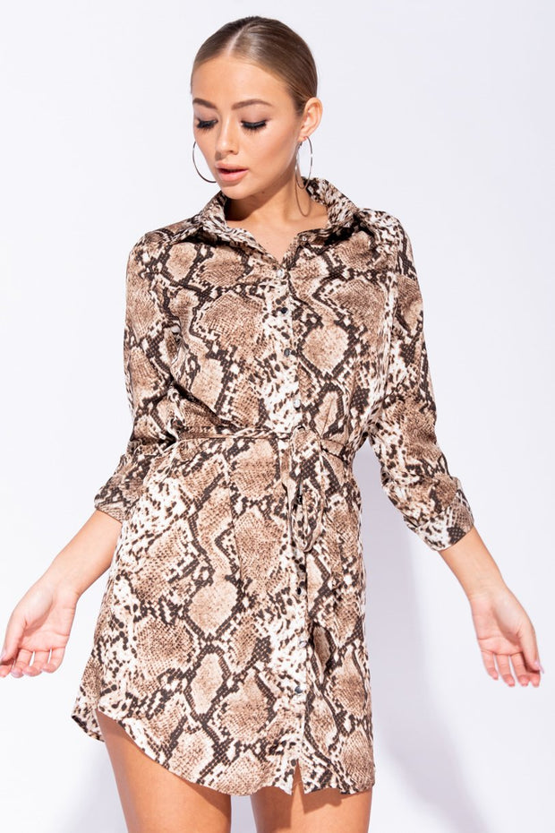 Image: Brown Snake Print Self Belt Shirt Dress - Parisian-uk