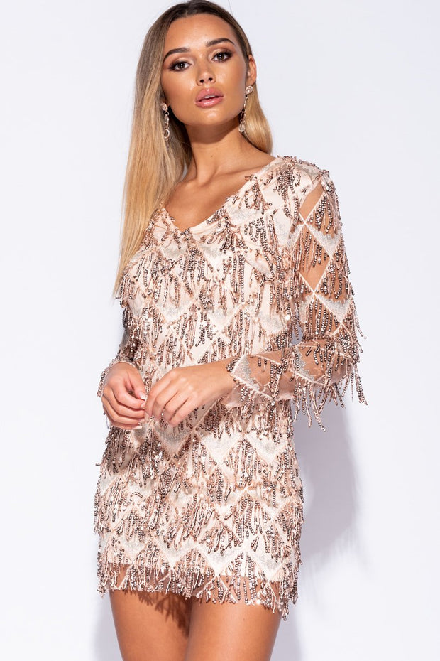 Image: Nude Sequin Droplet V Neck Bodycon Dress