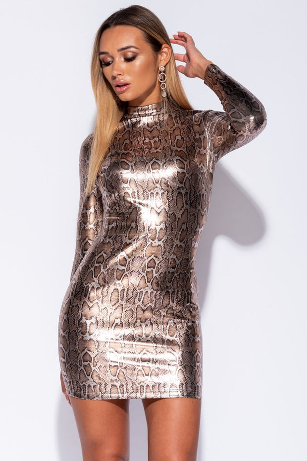 Image: Snake Metallic Snake Print High Neck Bodycon Dress