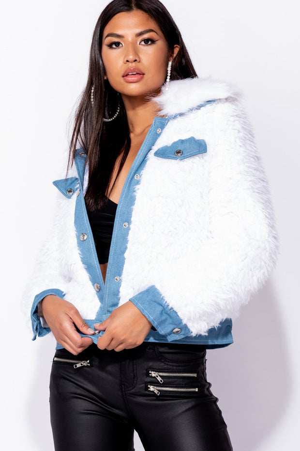 Image: White Faux Fur Button Front Denim Trucker Jacket