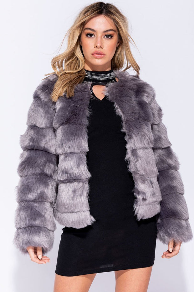 Image: Grey Edge To Edge Collarless Faux Fur Jacket