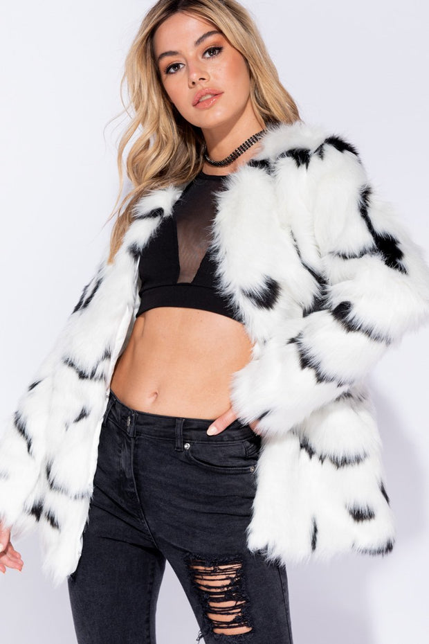 Image: Black White Edge To Edge Mid Length Collarless Faux Fur Jacket