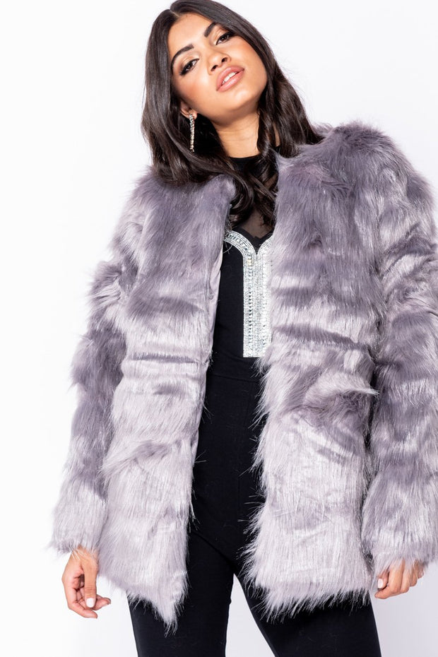 Image: Dark Grey Faux Fur Collar Less Edge To Edge Longline Coat