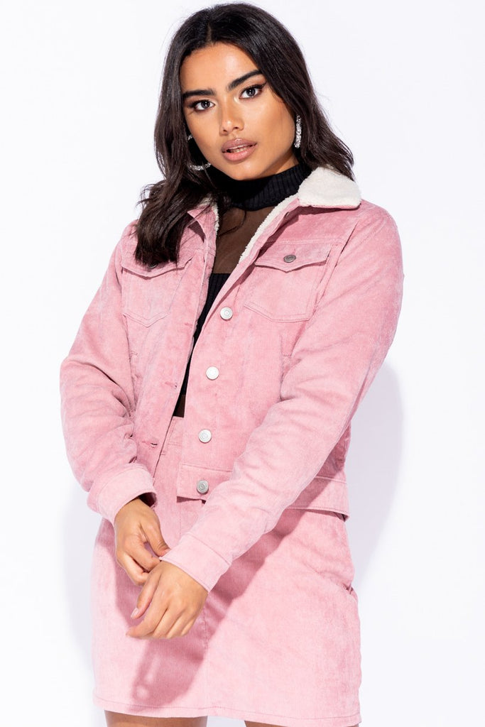 Image: Pink Baby Card Shearling Lined Trucker Jacket