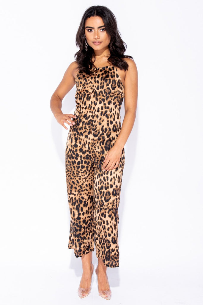 Image: Leopard Print Cropped Wide Leg Jumpsuit - Parisian-uk