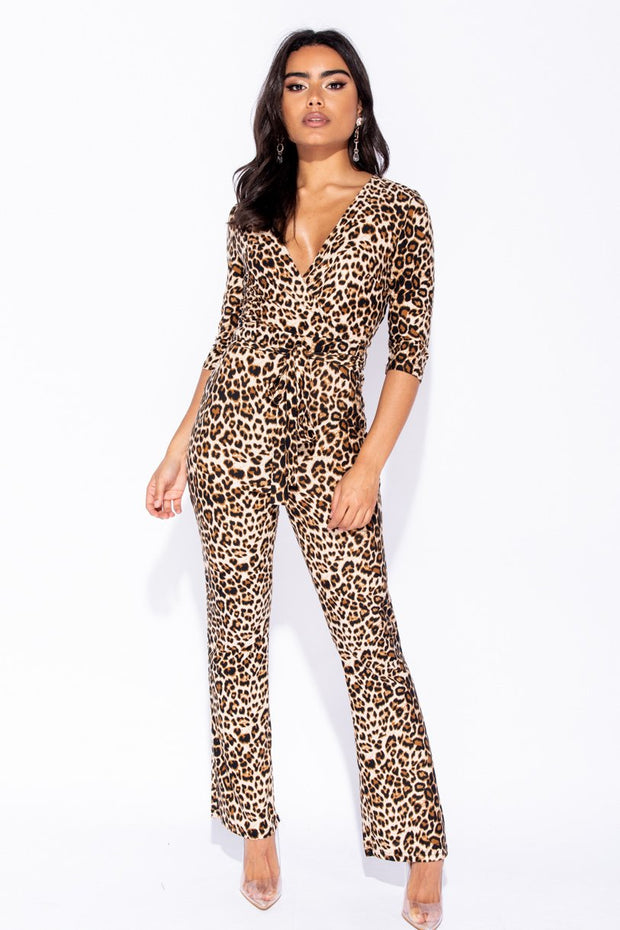 Image: Brown Leopard Print Self Belt 3/4 Sleeve Jumpsuit - Parisian-uk