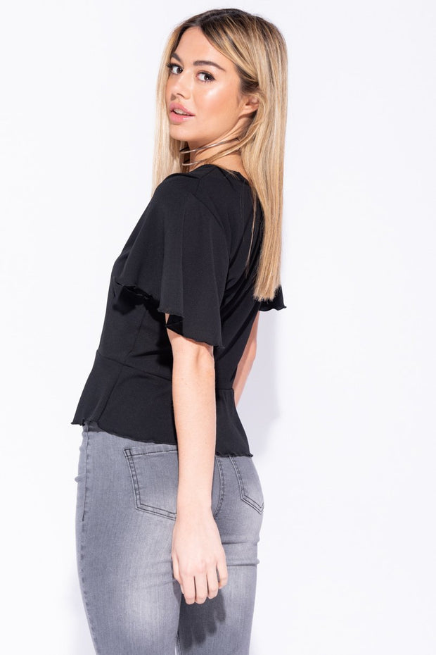 Image: Black Button Front Frill Hem And Sleeve Top - Parisian-uk