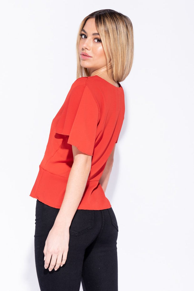 Image: Rust Button Front Frill Hem And Sleeve Top