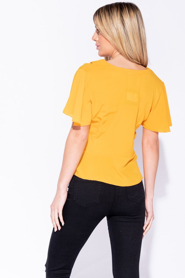 Image: Mustard Button Front Frill Hem And Sleeve Top