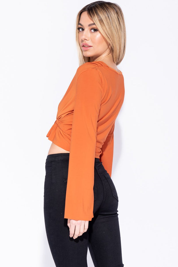 Image: Rust Ruched Tie Front Flare Sleeve Crop Top