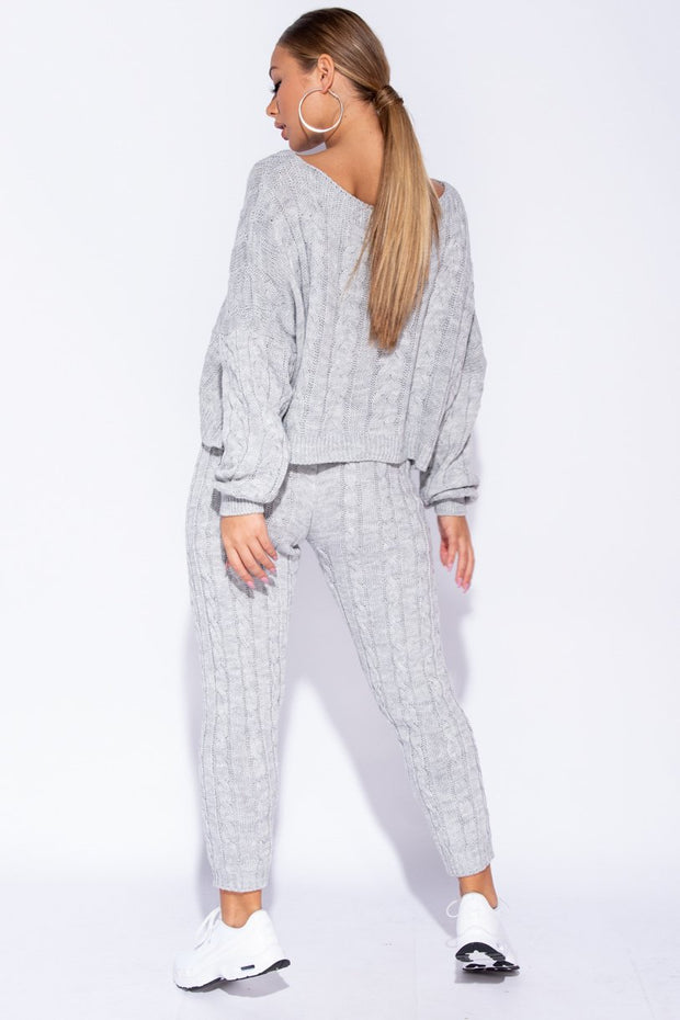 Image: Grey Cable Knit Cropped Top Lounge Set