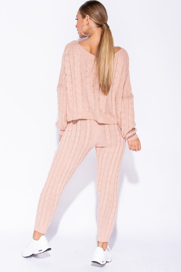 Image: Pink Cable Knit Cropped Top Lounge Set